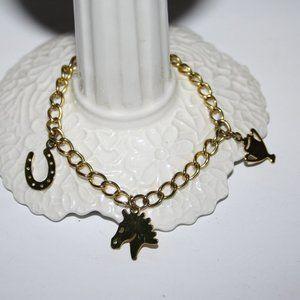 "Gold horse racing charm bracelet 7"""